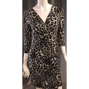 NY Collection Animal Print Faux Wrap Dress